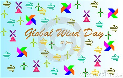 `Global Wind Day` Lettering with colorful Windmills,wind icons, pinwheels Cartoon Illustration