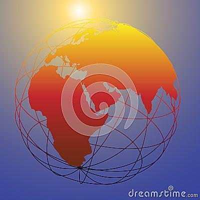 Global wireframe Eastern Earth globe bright sun