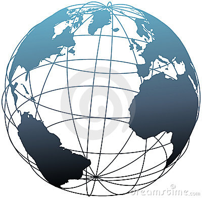 Global wireframe latitude Atlantic Earth globe