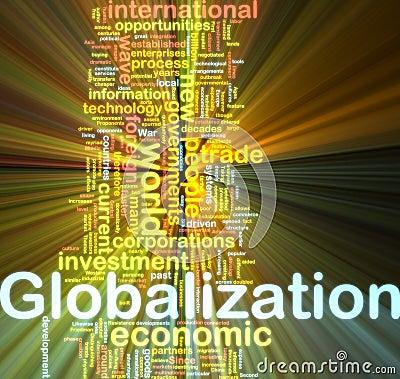 Globalization wordcloud glowing