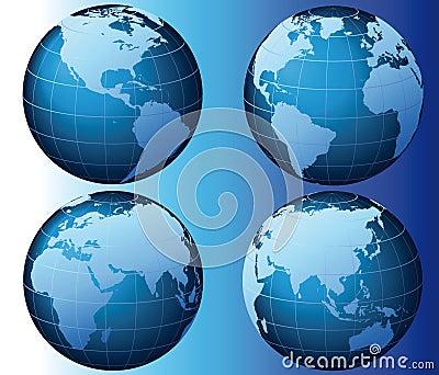 Globalne serie ustawiają wektorowego świat