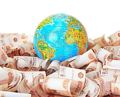 Globe against Russian banknotes