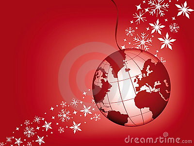 Globe ball on a red christmas background.