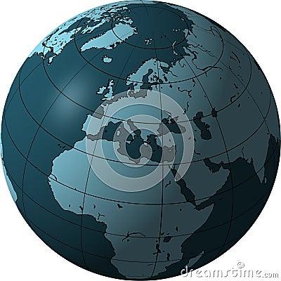 Globe bleu : l Europe et l Afrique