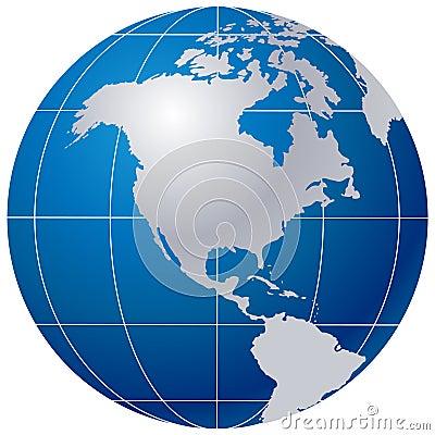 Globe bleu sur le blanc