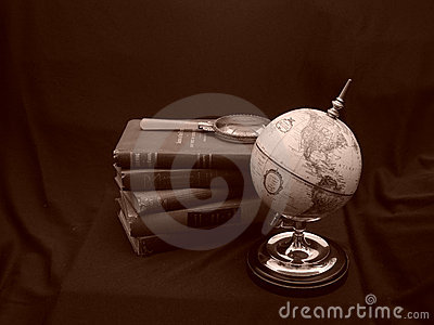 Globe with Books Sepia