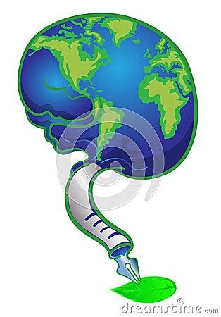 Globe in brain writing on green leave