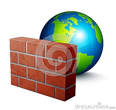 Globe and brick wall