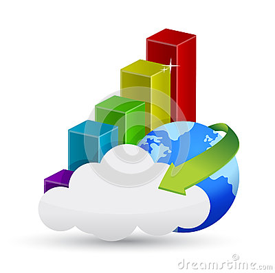 Globe, business graph and cloud computing