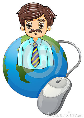 A globe with a businessman and a computer mouse