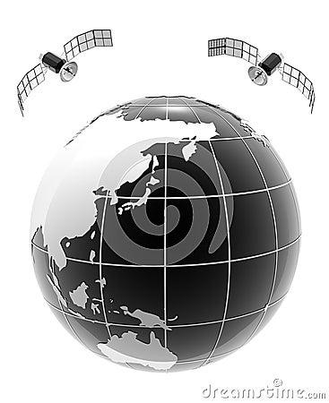 Globe bw on vertical plane