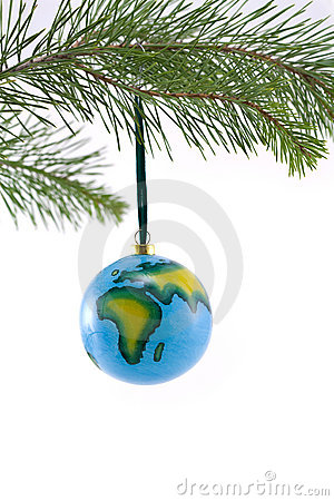 Globe Christmas Ornament showing Africa and Europe