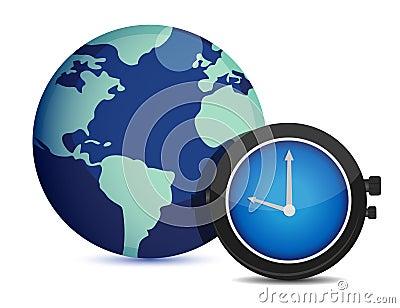 Globe with clock. international time