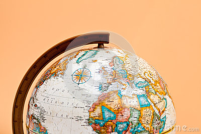 The globe closeup with Africa and Europe