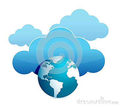 Globe cloud computing illustration design