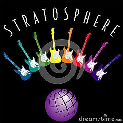 Globe and colorful guitars