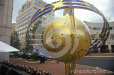 Globe and constellation sculpture in Reston, VA town center, a planned community Editorial Stock Image