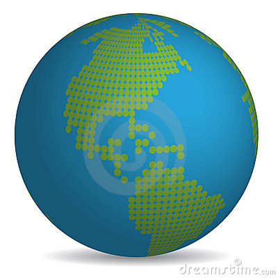 Globe with continents