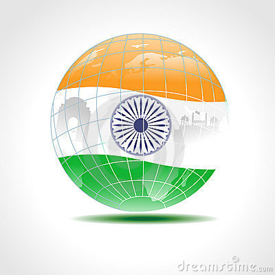 Globe covered with an Indian flag.