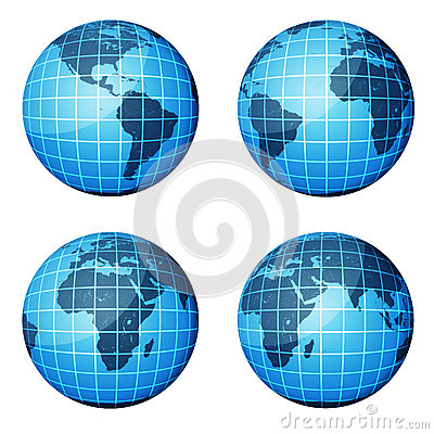Globe. Dark blue continents and blue ocean