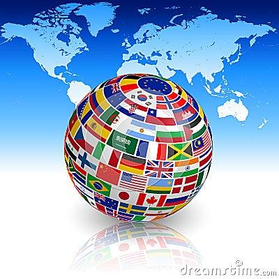 globe de drapeau avec la carte du monde illustration de vecteur image 55912542. Black Bedroom Furniture Sets. Home Design Ideas