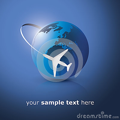 Globe design with airplane