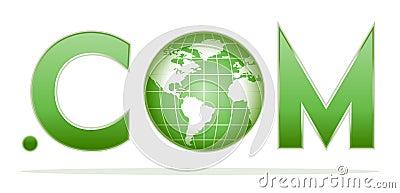 Globe with dot com