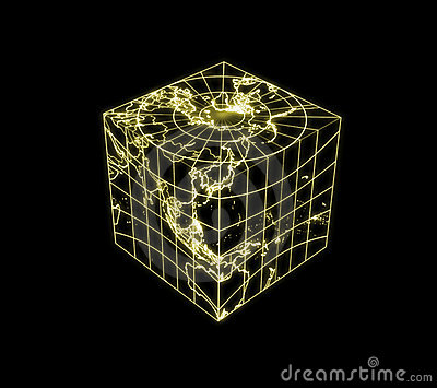 Globe Earth cubic light map outline