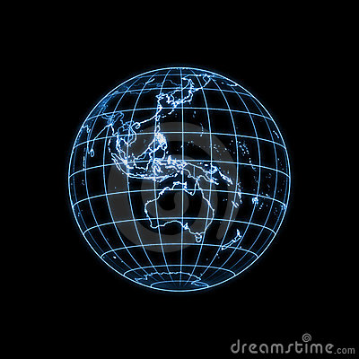 Globe Earth glowing light map outline