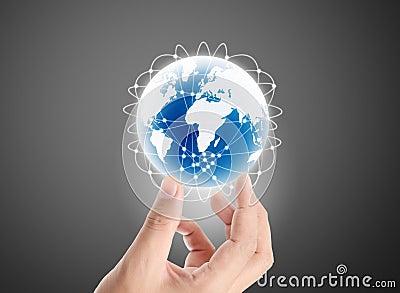 Globe ,earth in hand
