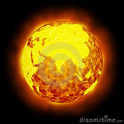 Globe Earth hot flare isolated