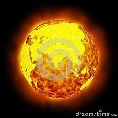 Globe Earth hot climate light halo flare
