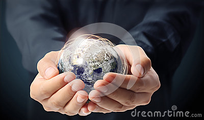 Globe earth in human hand