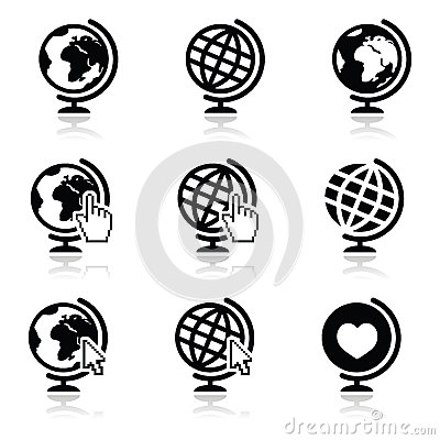Stock Illustration Globe Earth Icons Cursor Hand Arrow World Map Continents As Modern Black White Image43706435