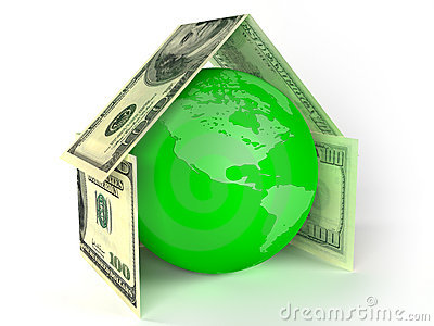 Globe of Earth inside house made by dollars