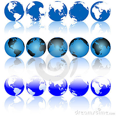 Globe Earth Reflections Set