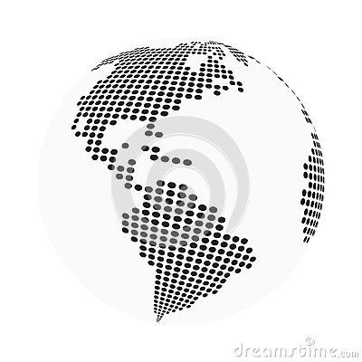 Globe earth world map - abstract dotted vector background. Black and white silhouette illustration Vector Illustration