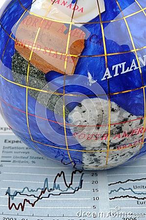 Globe and economy graph