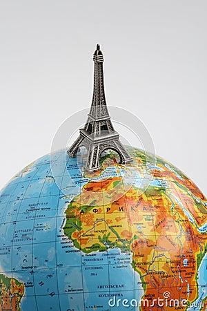 Globe with Eiffel Tower