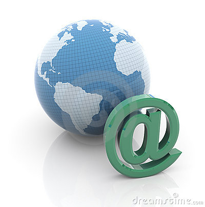 Globe and email sign