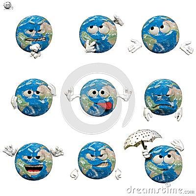 Globe emoticon set