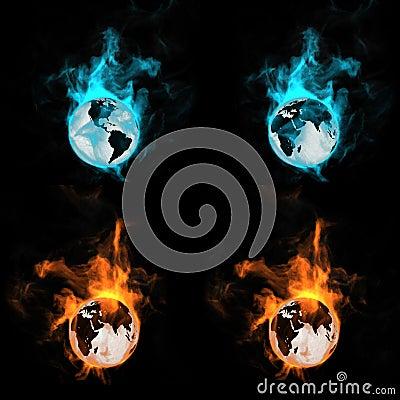 Globe in a fire