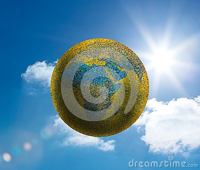 Globe floating in the sky
