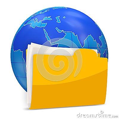 Globe with Folder on white background