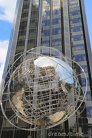 Globe in the front of Trump International Hotel and Tower at Columbus Circle in Manhattan Editorial Stock Photo