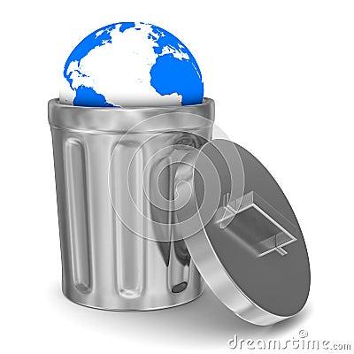 Globe into garbage basket on white background