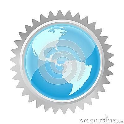 Globe in gear