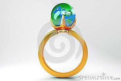 Globe in Gold Ring