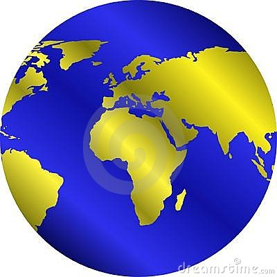 Globe with golden continents