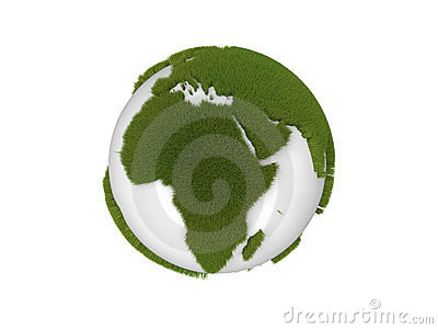 Globe with grass continents